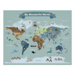 Kids World Map with Pictures and Animals Poster