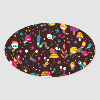 Kids World, Nature - Insects, Snails, Oval Sticker