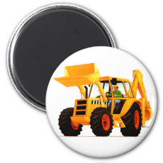 Kid's Yellow Digger 2 Inch Round Magnet