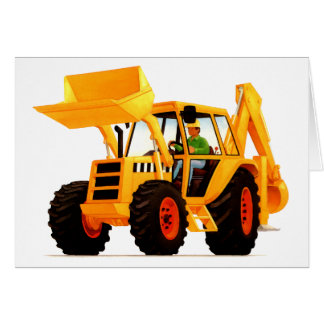 Kid's Yellow Digger 4th Birthday Greeting Cards