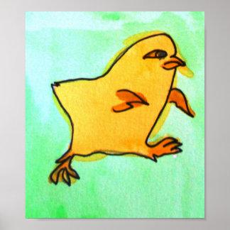 Kids yellow easter chick farm animal art poster