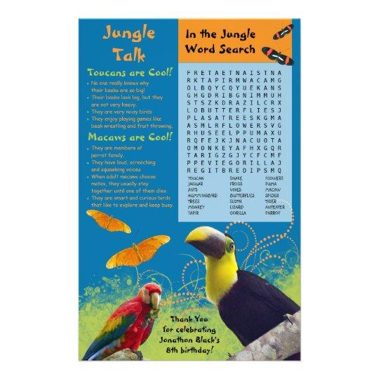 Kid's Zoo Birthday Party Activity Sheet
