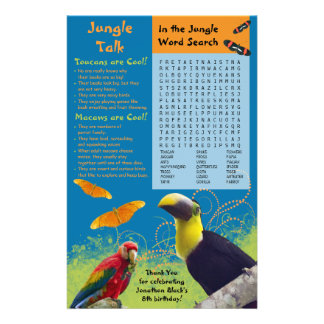 "Kid's Zoo Birthday Party Activity Sheet 5.5"" X 8.5"" Flyer"