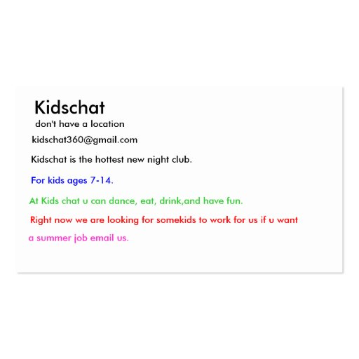 Kidschat don t have a location kidschat360 gm