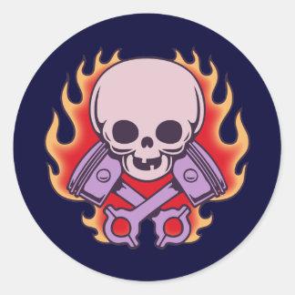 Kidskull & Crossed Pistons Classic Round Sticker