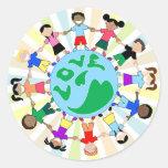 KidsLoveGlobe Pegatina Redonda