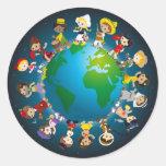 Kidz del mundo etiqueta redonda