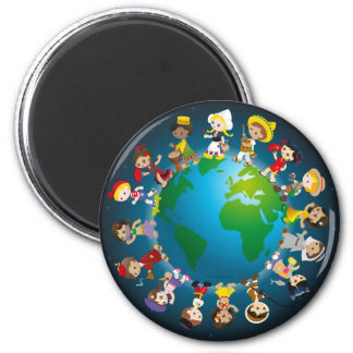 Kidz del mundo imán redondo 5 cm