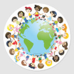 Kidz del mundo pegatinas redondas