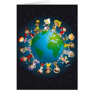 Kidz del mundo tarjeta de felicitación