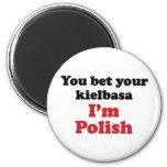 Kielbasa polaco 2 lados imán redondo 5 cm