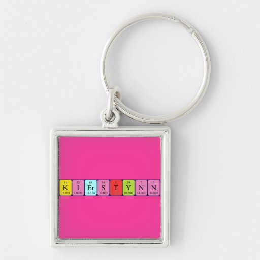 Kierstynn periodic table name keyring Silver-Colored square keychain