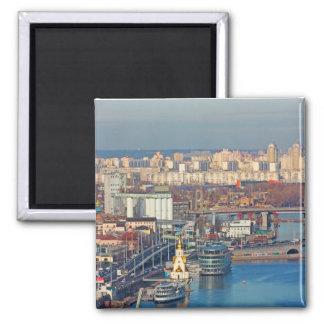 Kiev bussines and industry city landscape on river 2 inch square magnet