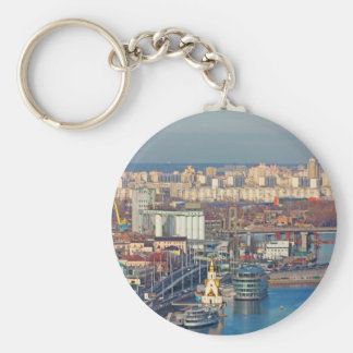 Kiev bussines and industry city landscape on river keychain
