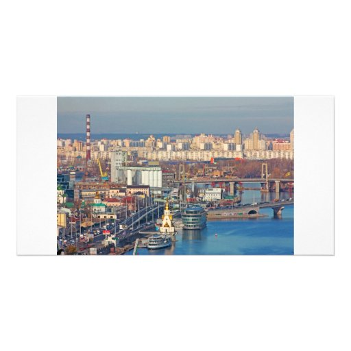 Kiev bussines and industry city landscape on river photo card