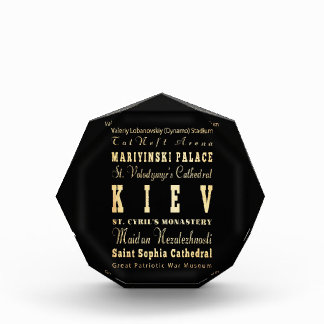 Kiev City of Ukraine Typography Art Acrylic Award