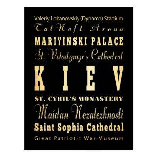 Kiev City of Ukraine Typography Art Postcard