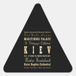 Kiev City of Ukraine Typography Art Triangle Sticker