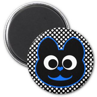 KiKi Kat Blue 2 Inch Round Magnet