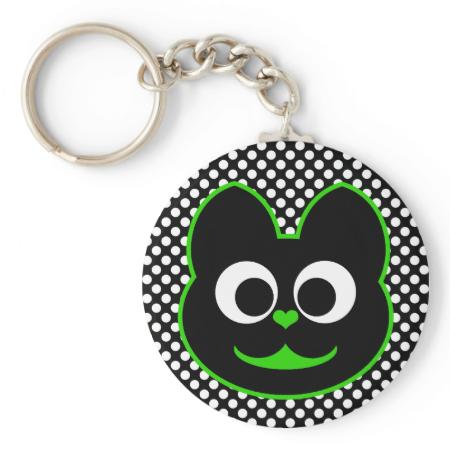 KiKi Kat Green Keychains