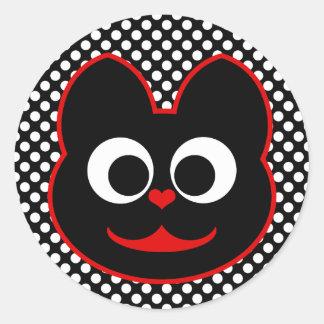 KiKi Kat Red Round Stickers
