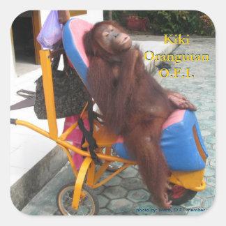 KiKi Orangutan in Her Wheelchair Square Sticker