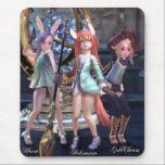 """Kiki Tera Elin Mousepad<br><div class=""""desc"""">The tiny, cute Elin of Tera are masters of magic. The three sisters are among the best and brightest! Bloem... the raven-haired priest, Helenarose... the clever sorceress, and GlodCharm... the lightning-fast warrior. They vernture forth from the streets of Velika to slay basilisks that threaten the local villages... and amass piles...</div>"""