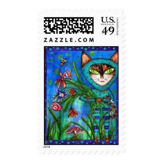 KiKi's Garden Kitty Fine Art Postage Stamp