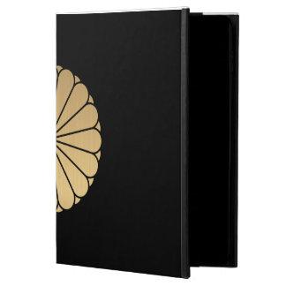 Kiku Chrysanthemum Mon brushed faux gold on black Powis iPad Air 2 Case
