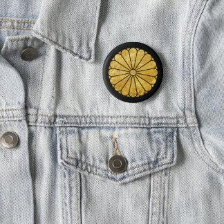Kiku Chrysanthemum Mon faux gold on black Button
