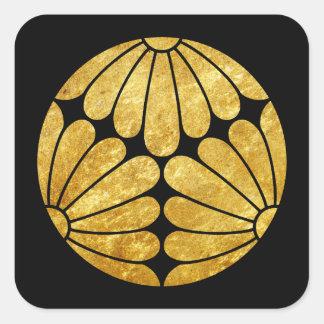 Kiku Chrysanthemum Mon faux gold on black Square Sticker