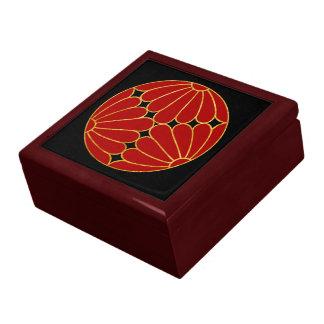 Kiku Chrysanthemum Mon red faux gold on black Jewelry Box