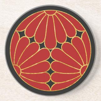 Kiku Chrysanthemum Mon red faux gold on black Sandstone Coaster