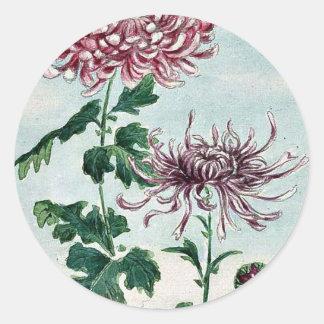 Kiku - crisantemo/Megata Ukiyo-e. Etiqueta Redonda