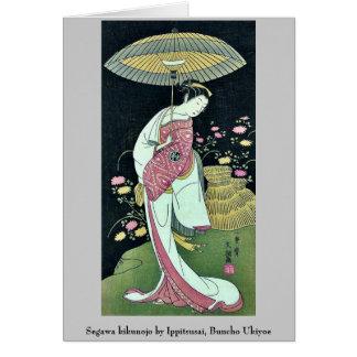 Kikunojo de Segawa por Ippitsusai, Buncho Ukiyoe Tarjeton