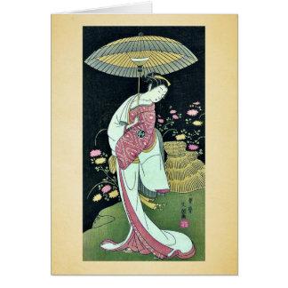 Kikunojo de Segawa por Ippitsusai, Buncho Ukiyoe Tarjetón