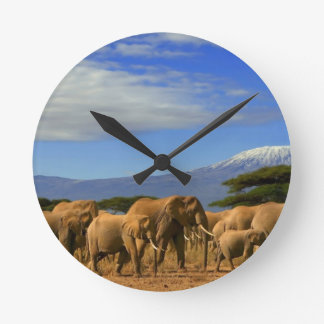 Kilimanjaro And Elephants Round Wall Clock