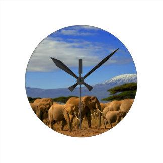 Kilimanjaro And Elephants Round Clock