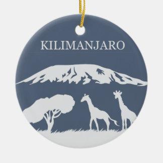 Kilimanjaro (azul) adorno navideño redondo de cerámica