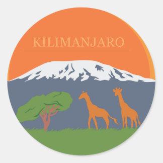 Kilimanjaro Pegatina Redonda