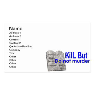 Kill But Do Not Murder Double-Sided Standard Business Cards (Pack Of 100)