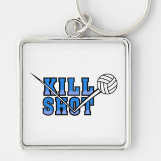 kill shot volleyball design Silver-Colored square keychain