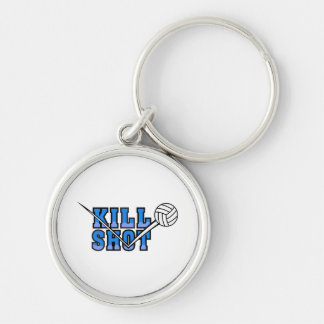 kill shot volleyball design Silver-Colored round keychain