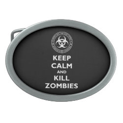 Oval Belt Buckle with Keep Calm and Kill Zombies design