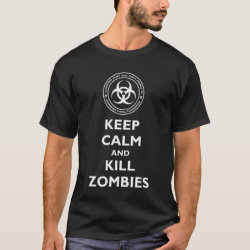 Men's Basic Dark T-Shirt with Keep Calm and Kill Zombies design