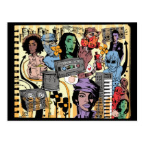 artsprojekt, killa peach postcard, jim, mahfood, food, one, 40oz, comics, clerks, grrl scouts, colt 45, stupid, page, filler, man, live art, live, art, z-trip, murs, felt, true, tales, underground, hip, hop, sarah, silverman, program, frenchpulp, mahf, earthworms, comic, books., jim mahfood, jim mahfood skateboards, food one skateboards, 40 oz comics skateboards, food one, 40 oz comics, Cartão postal com design gráfico personalizado