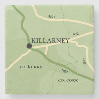 Killarney County Kerry Ireland Road Map Stone Coaster