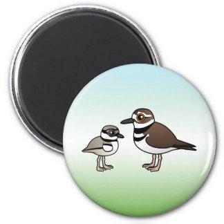 Killdeer & chick 2 inch round magnet
