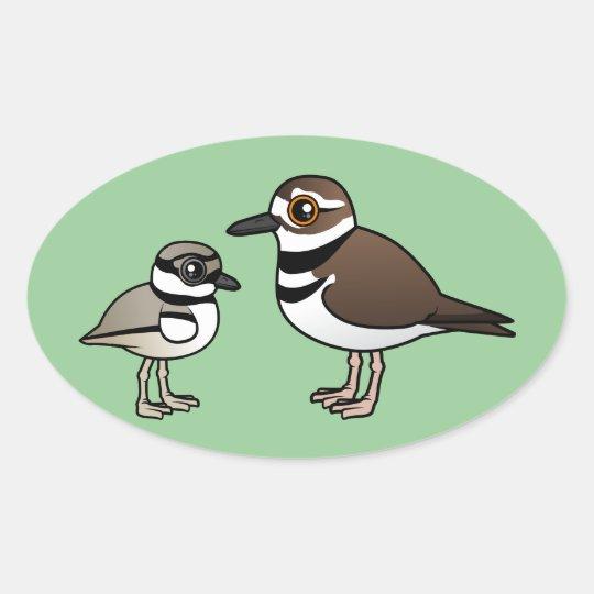 Killdeer & chick oval sticker