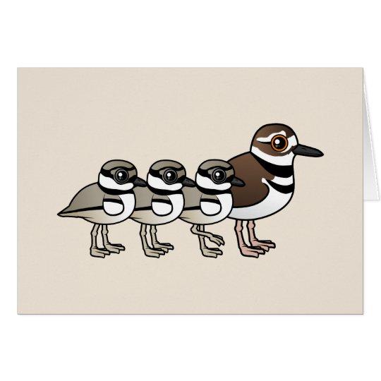Killdeer & three chicks card